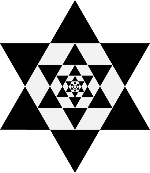 Figure 11: Saxon, Geometrical object gained from the iteration of scale-shifting rings of triangles, 2009