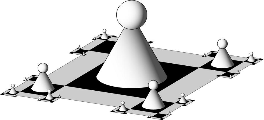 5. ábra. Saxon: Dimenziósakk (1998); olaj, fa, 152x200x152cm
