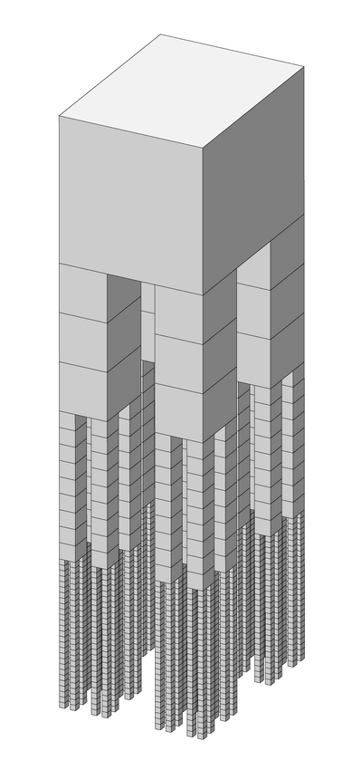 6. ábra. Saxon: Lábatlan szék (1998); olaj, fa, 30x30x végtelen cm