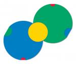 Modules of Poly-Universe 1979-2009 (circles/körök), oil on wood, 140x140 cm, variation