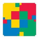 Modules of Poly-Universe 1979-2009 (squares/négyzetek), oil on wood, 160x160 cm, variation