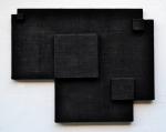 Poly-dimensional Black Form 1998 / Polidimenzionális fekete forma 1998, oil canvas on wood, 48x60 cm