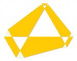 Poly-dimensional Triangle with Spaces I 2008 / Polidimenzionális háromszög űrökkel I. 2008, oil on wood, 90x70 cm