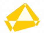 Poly-dimensional Triangle with Spaces II 2008 / Polidimenzionális háromszög űrökkel II. 2008, oil on wood, 90x70 cm